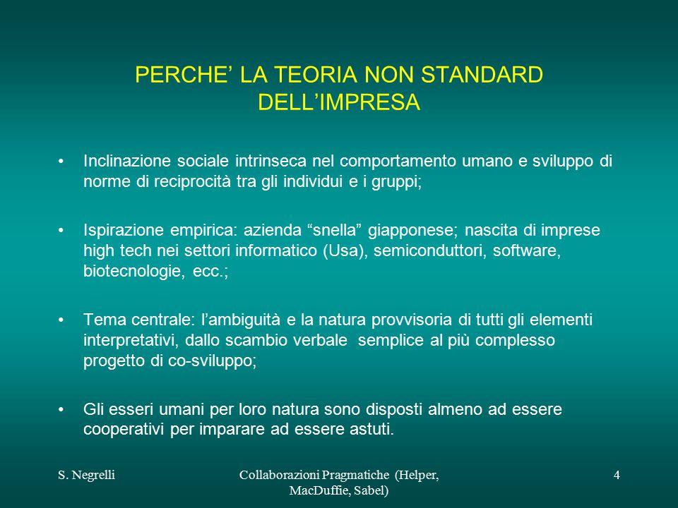 S. NegrelliCollaborazioni Pragmatiche (Helper, MacDuffie, Sabel) 4 PERCHE' LA TEORIA NON STANDARD DELL'IMPRESA Inclinazione sociale intrinseca nel com