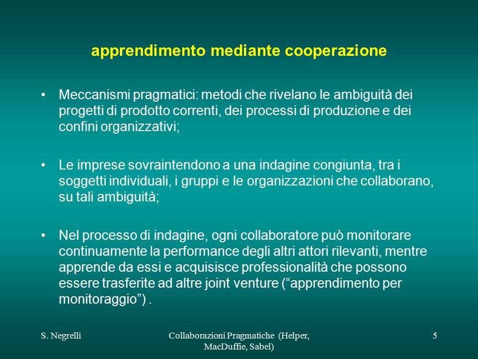 S. NegrelliCollaborazioni Pragmatiche (Helper, MacDuffie, Sabel) 5 apprendimento mediante cooperazione Meccanismi pragmatici: metodi che rivelano le a