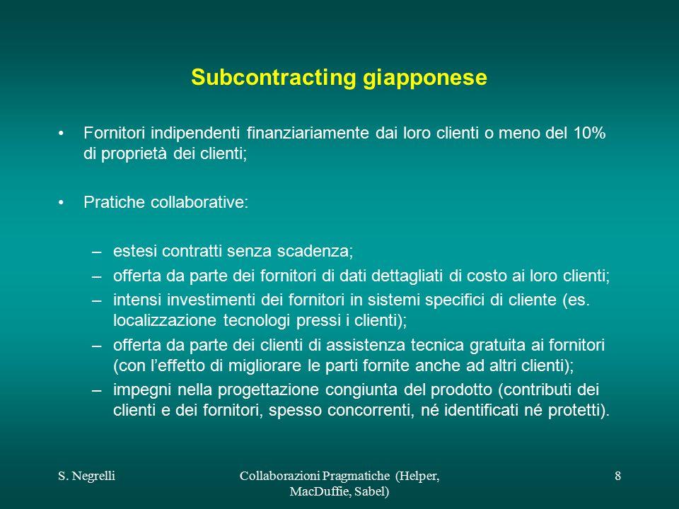S. NegrelliCollaborazioni Pragmatiche (Helper, MacDuffie, Sabel) 8 Subcontracting giapponese Fornitori indipendenti finanziariamente dai loro clienti
