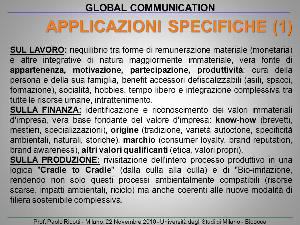 GLOBAL COMMUNICATION Prof. Paolo Ricotti - Milano, 22 Novembre 2010 - Università degli Studi di Milano - Bicocca APPLICAZIONI SPECIFICHE (1) SUL LAVOR