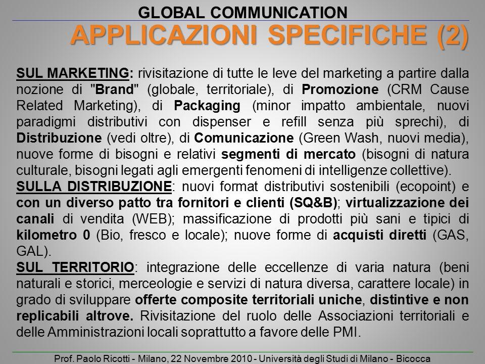 GLOBAL COMMUNICATION Prof. Paolo Ricotti - Milano, 22 Novembre 2010 - Università degli Studi di Milano - Bicocca APPLICAZIONI SPECIFICHE (2) SUL MARKE