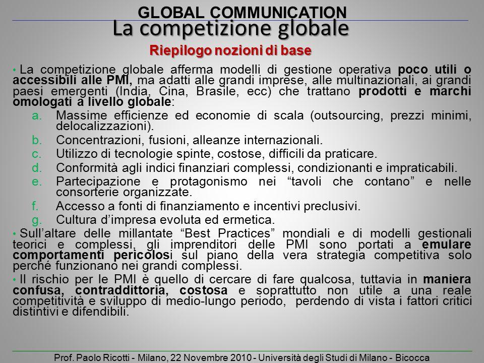 GLOBAL COMMUNICATION Prof. Paolo Ricotti - Milano, 22 Novembre 2010 - Università degli Studi di Milano - Bicocca La competizione globale afferma model