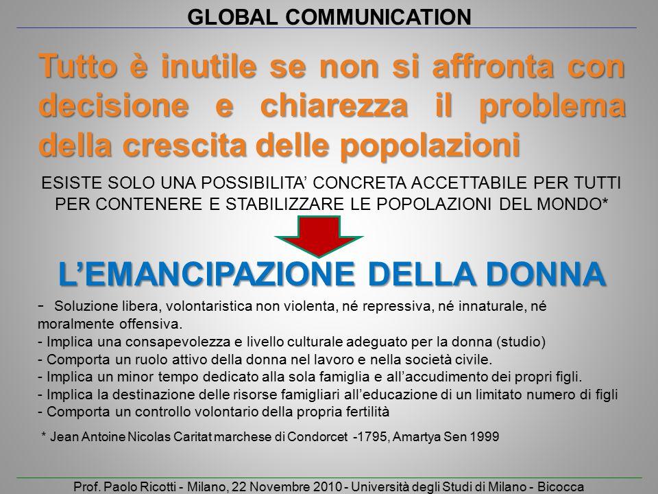 GLOBAL COMMUNICATION Prof. Paolo Ricotti - Milano, 22 Novembre 2010 - Università degli Studi di Milano - Bicocca Tutto è inutile se non si affronta co