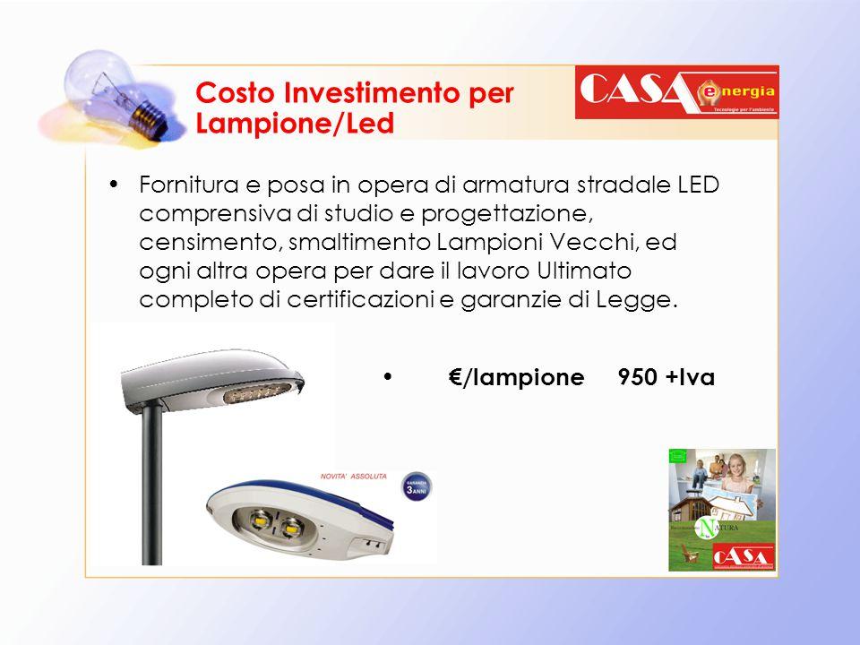 Costo Investimento per Lampione/Led Fornitura e posa in opera di armatura stradale LED comprensiva di studio e progettazione, censimento, smaltimento