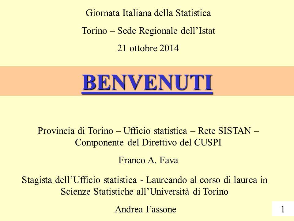 BENVENUTI Provincia di Torino – Ufficio statistica – Rete SISTAN – Componente del Direttivo del CUSPI Franco A.