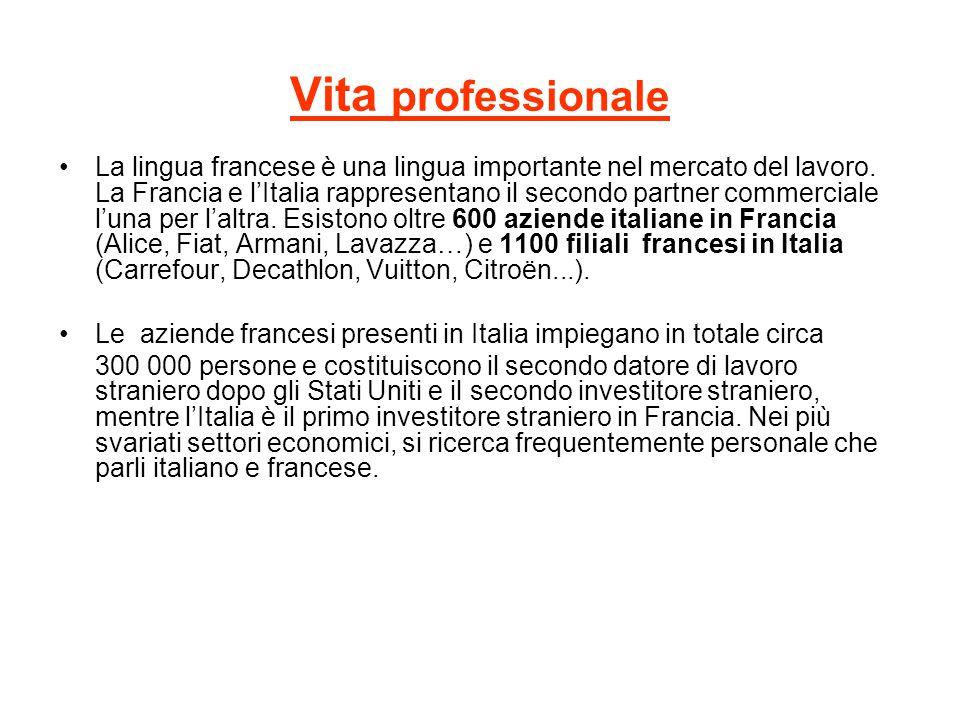 Vita professionale La lingua francese è una lingua importante nel mercato del lavoro. La Francia e l'Italia rappresentano il secondo partner commercia