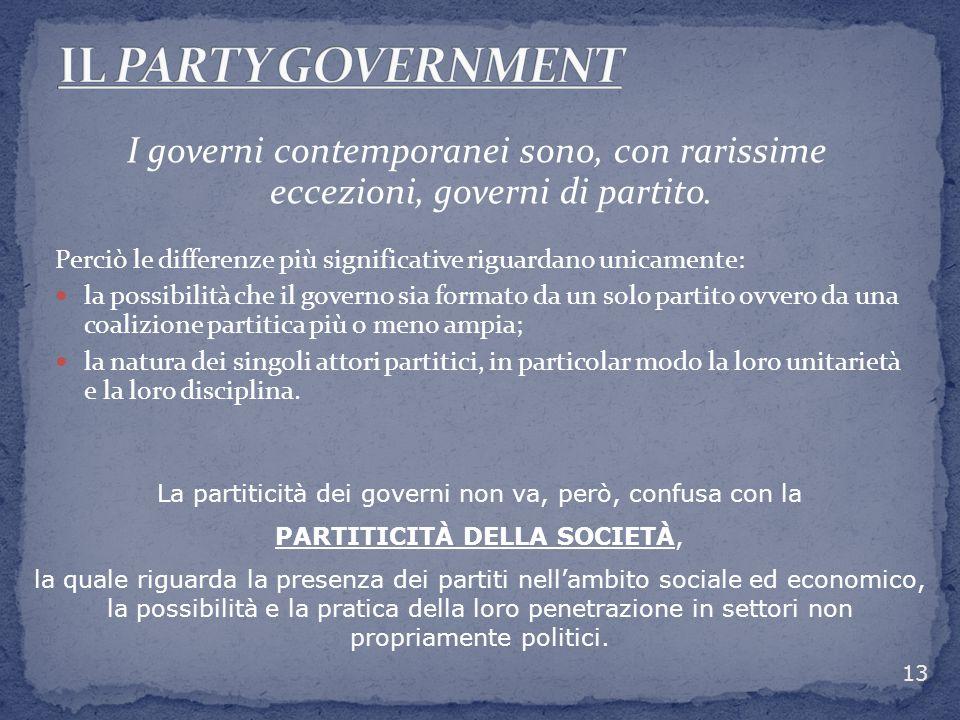 I governi contemporanei sono, con rarissime eccezioni, governi di partito. Perciò le differenze più significative riguardano unicamente: la possibilit