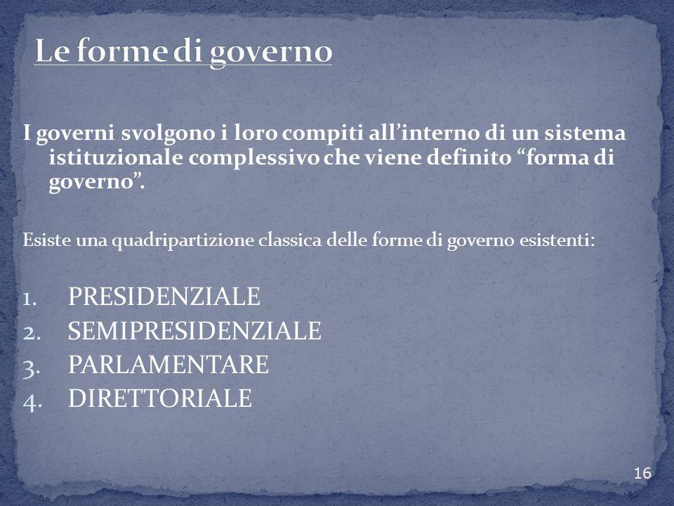 """I governi svolgono i loro compiti all'interno di un sistema istituzionale complessivo che viene definito """"forma di governo"""". Esiste una quadripartizio"""