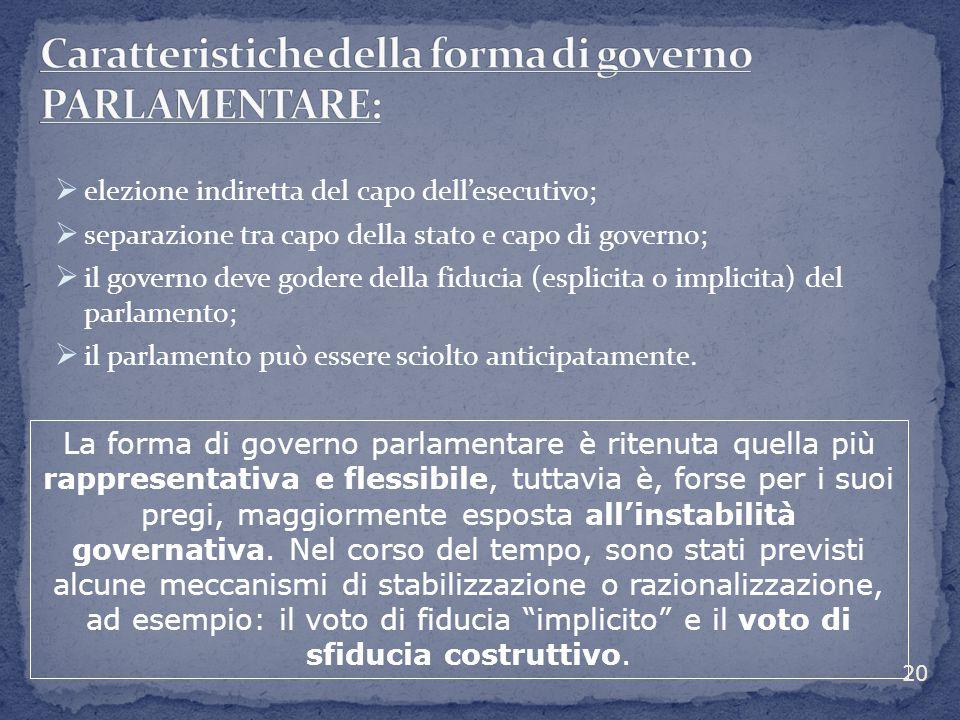  elezione indiretta del capo dell'esecutivo;  separazione tra capo della stato e capo di governo;  il governo deve godere della fiducia (esplicita