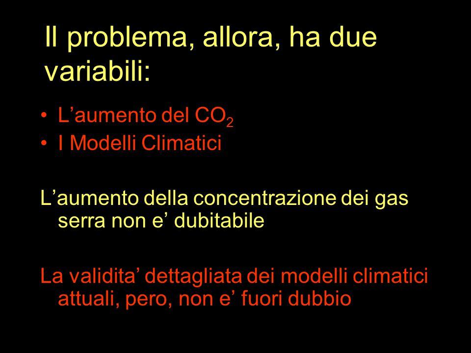 Il problema, allora, ha due variabili: L'aumento del CO 2 I Modelli Climatici L'aumento della concentrazione dei gas serra non e' dubitabile La validita' dettagliata dei modelli climatici attuali, pero, non e' fuori dubbio