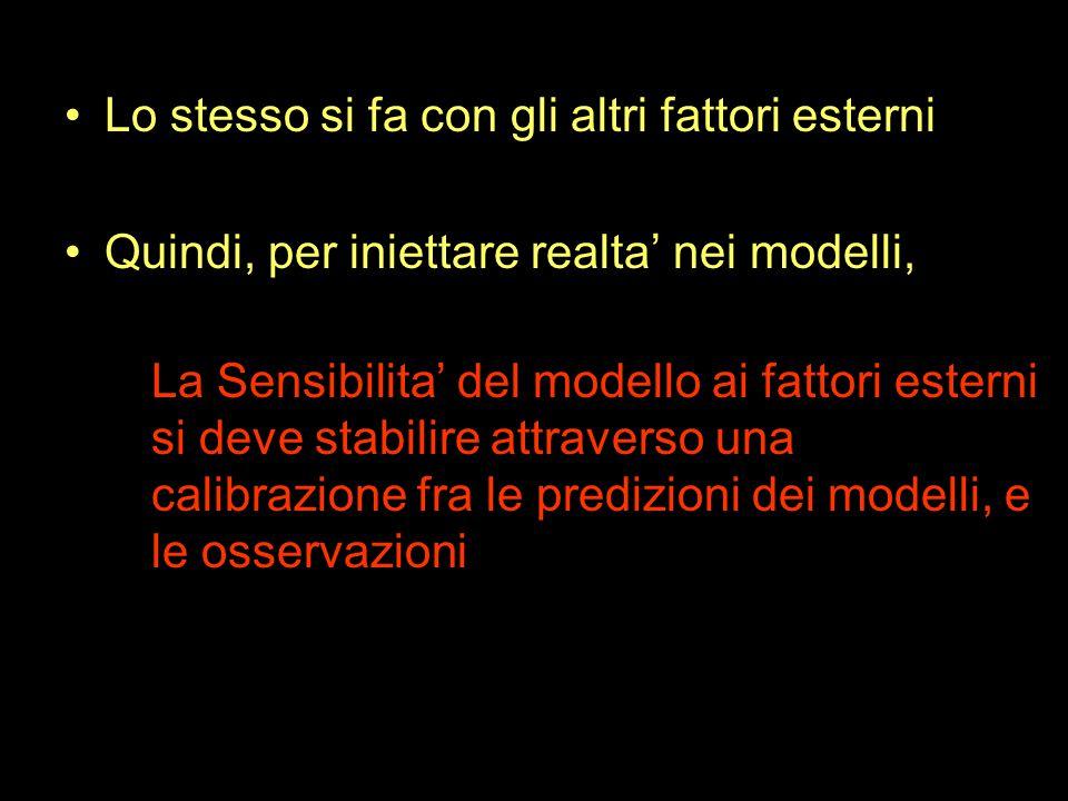 Lo stesso si fa con gli altri fattori esterni Quindi, per iniettare realta' nei modelli, La Sensibilita' del modello ai fattori esterni si deve stabilire attraverso una calibrazione fra le predizioni dei modelli, e le osservazioni