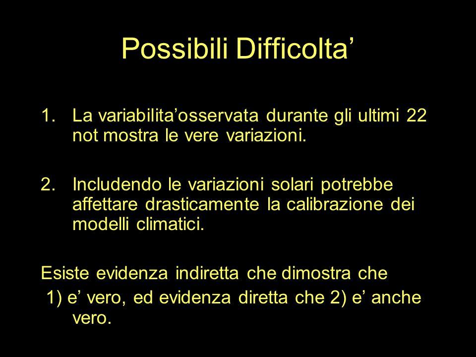 Possibili Difficolta' 1.La variabilita'osservata durante gli ultimi 22 not mostra le vere variazioni.