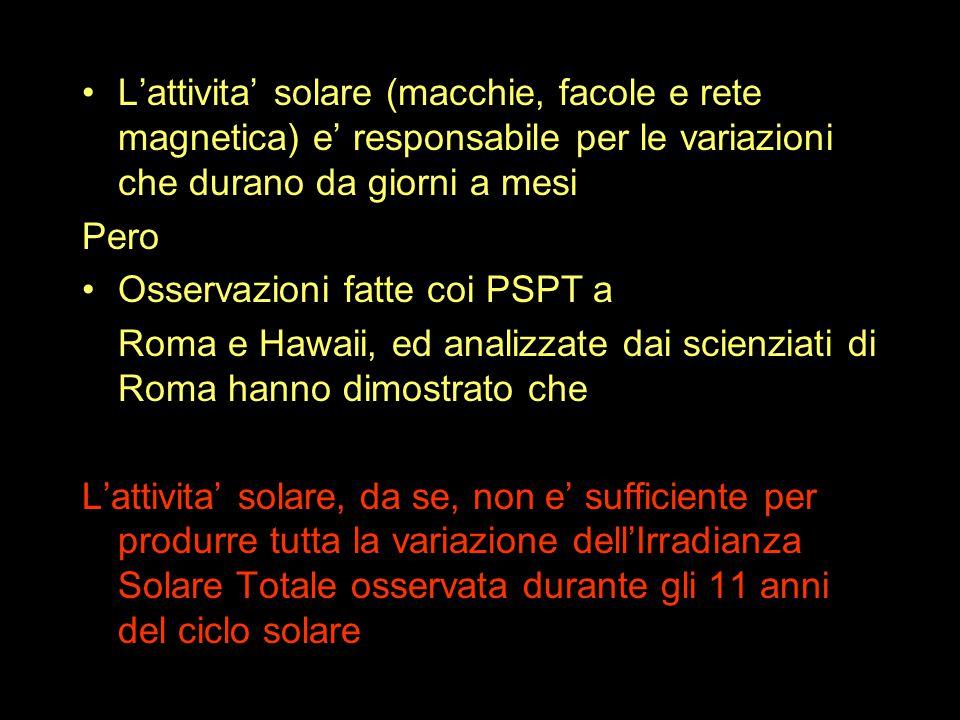 L'attivita' solare (macchie, facole e rete magnetica) e' responsabile per le variazioni che durano da giorni a mesi Pero Osservazioni fatte coi PSPT a Roma e Hawaii, ed analizzate dai scienziati di Roma hanno dimostrato che L'attivita' solare, da se, non e' sufficiente per produrre tutta la variazione dell'Irradianza Solare Totale osservata durante gli 11 anni del ciclo solare