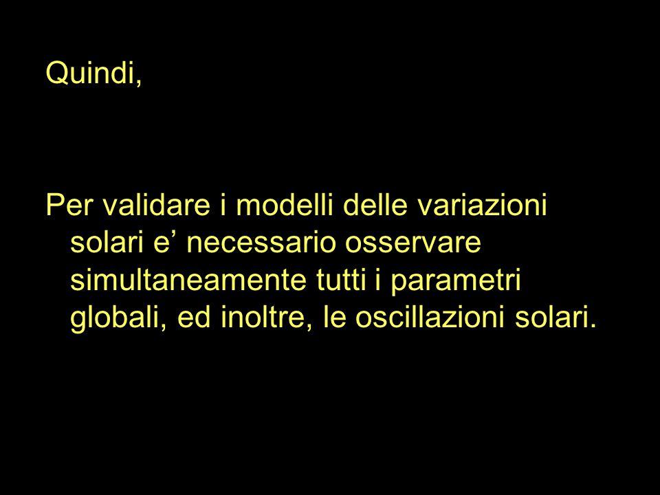 Quindi, Per validare i modelli delle variazioni solari e' necessario osservare simultaneamente tutti i parametri globali, ed inoltre, le oscillazioni solari.