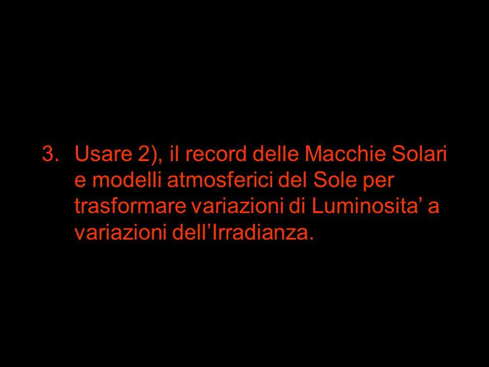 3.Usare 2), il record delle Macchie Solari e modelli atmosferici del Sole per trasformare variazioni di Luminosita' a variazioni dell'Irradianza.