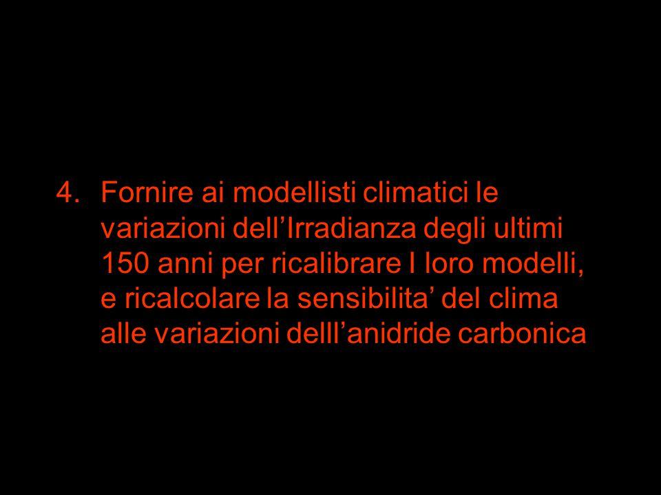 4.Fornire ai modellisti climatici le variazioni dell'Irradianza degli ultimi 150 anni per ricalibrare I loro modelli, e ricalcolare la sensibilita' del clima alle variazioni delll'anidride carbonica