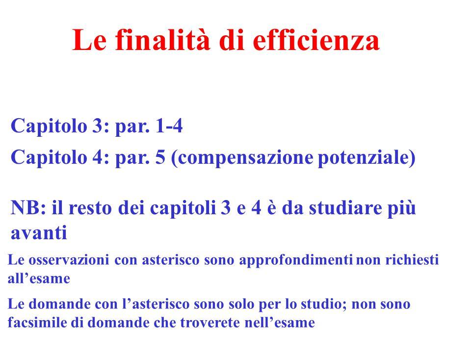 Le finalità di efficienza Capitolo 3: par. 1-4 Capitolo 4: par. 5 (compensazione potenziale) NB: il resto dei capitoli 3 e 4 è da studiare più avanti