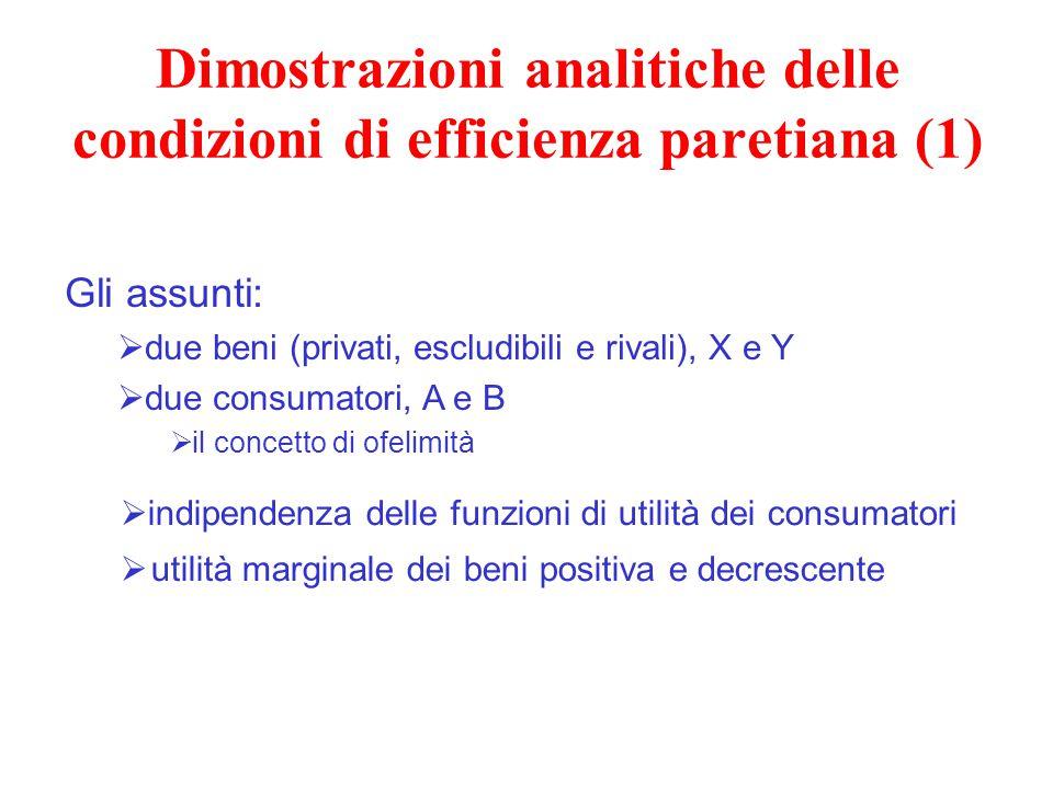 Dimostrazioni analitiche delle condizioni di efficienza paretiana (1) Gli assunti:  due beni (privati, escludibili e rivali), X e Y  due consumatori