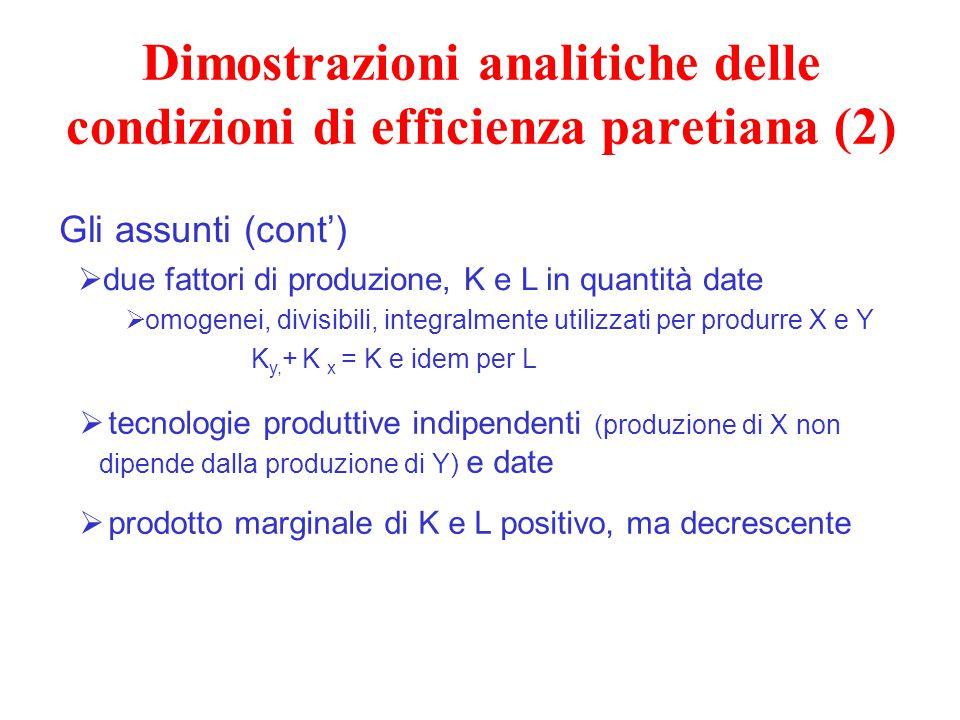 Dimostrazioni analitiche delle condizioni di efficienza paretiana (2)  tecnologie produttive indipendenti (produzione di X non dipende dalla produzio