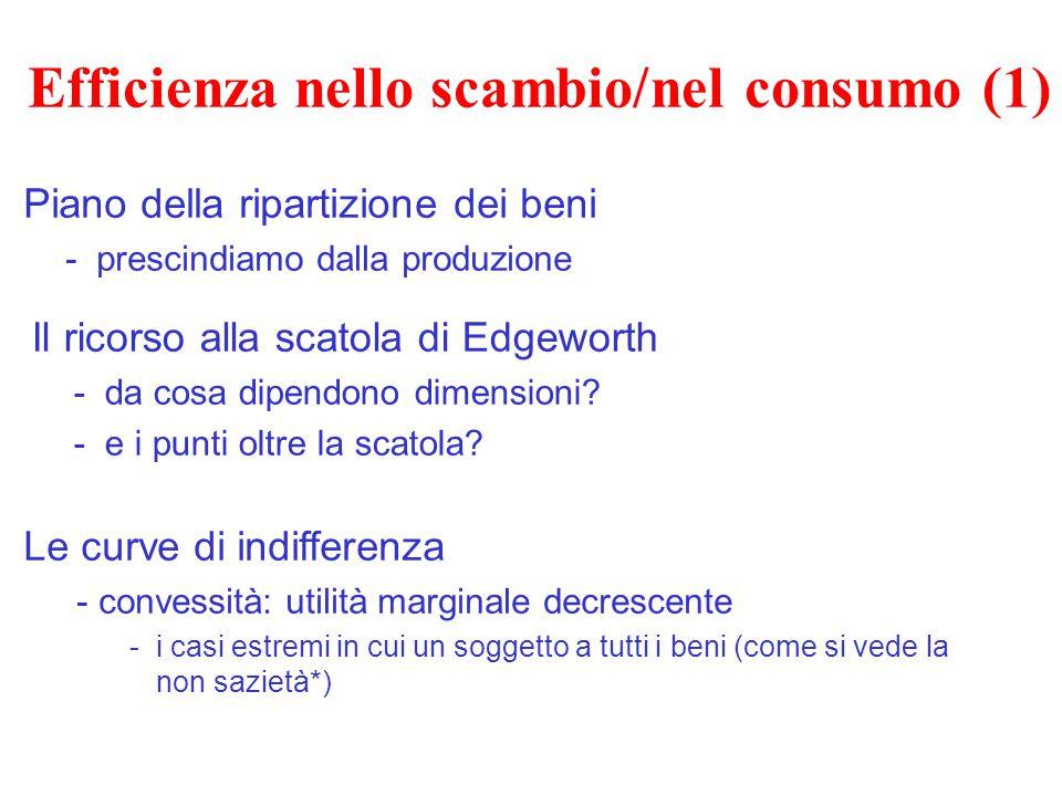 Efficienza nello scambio/nel consumo (1) Piano della ripartizione dei beni -prescindiamo dalla produzione Le curve di indifferenza - convessità: utili