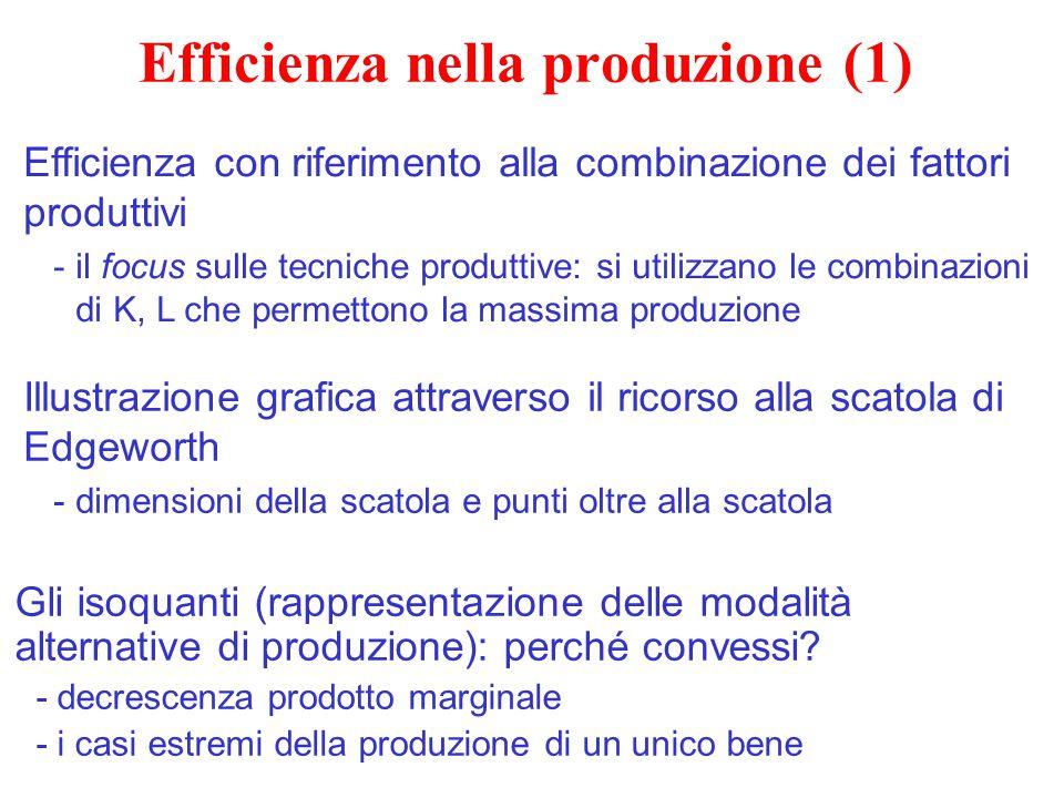 Efficienza nella produzione (1) Gli isoquanti (rappresentazione delle modalità alternative di produzione): perché convessi? -decrescenza prodotto marg