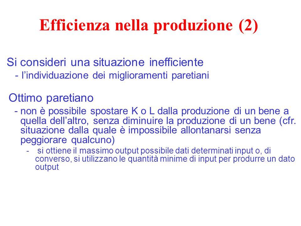 Efficienza nella produzione (2) Ottimo paretiano -non è possibile spostare K o L dalla produzione di un bene a quella dell'altro, senza diminuire la p