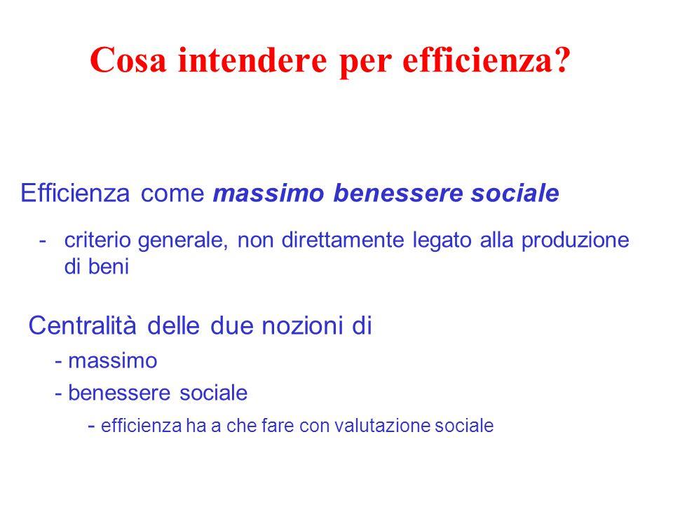 Cosa intendere per efficienza? Efficienza come massimo benessere sociale -criterio generale, non direttamente legato alla produzione di beni Centralit