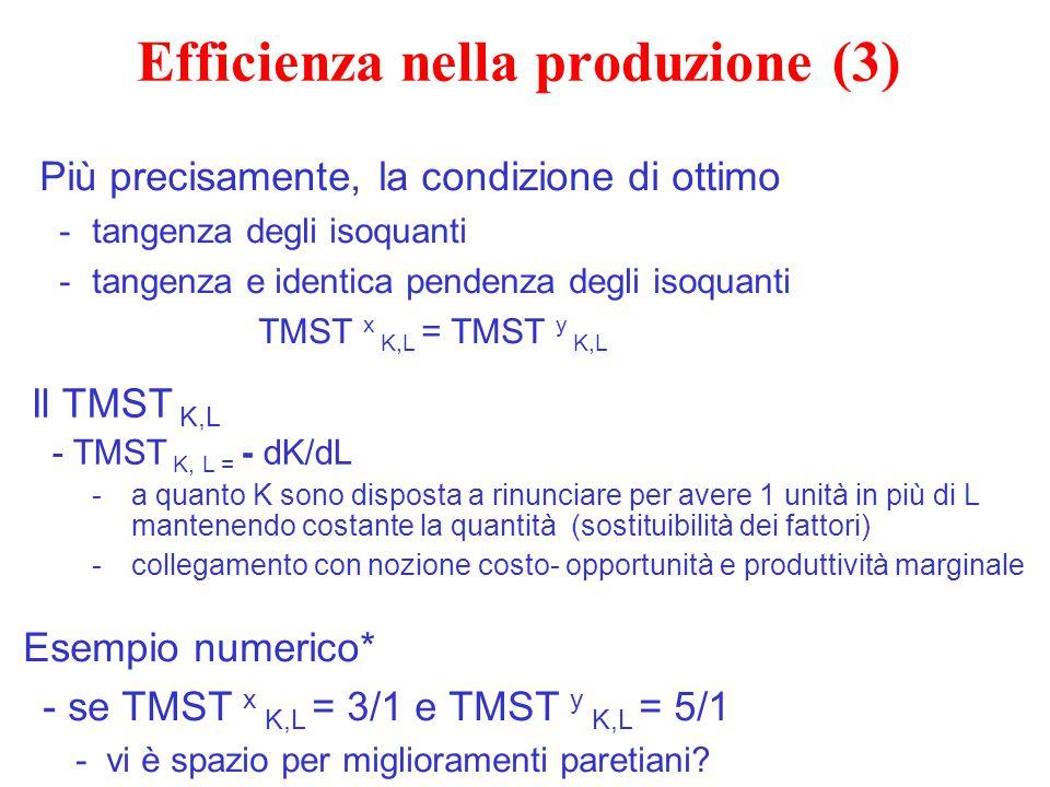 Efficienza nella produzione (3) Più precisamente, la condizione di ottimo -tangenza degli isoquanti -tangenza e identica pendenza degli isoquanti TMST