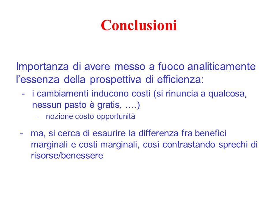 Conclusioni Importanza di avere messo a fuoco analiticamente l'essenza della prospettiva di efficienza: -i cambiamenti inducono costi (si rinuncia a q