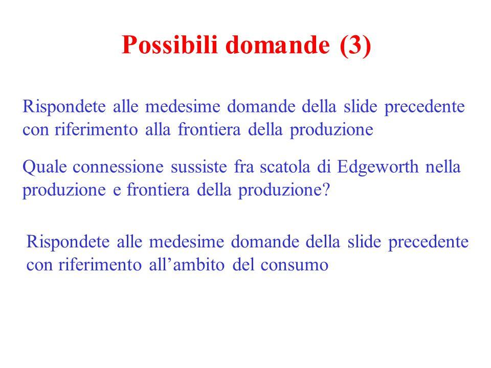 Possibili domande (3) Rispondete alle medesime domande della slide precedente con riferimento alla frontiera della produzione Quale connessione sussis