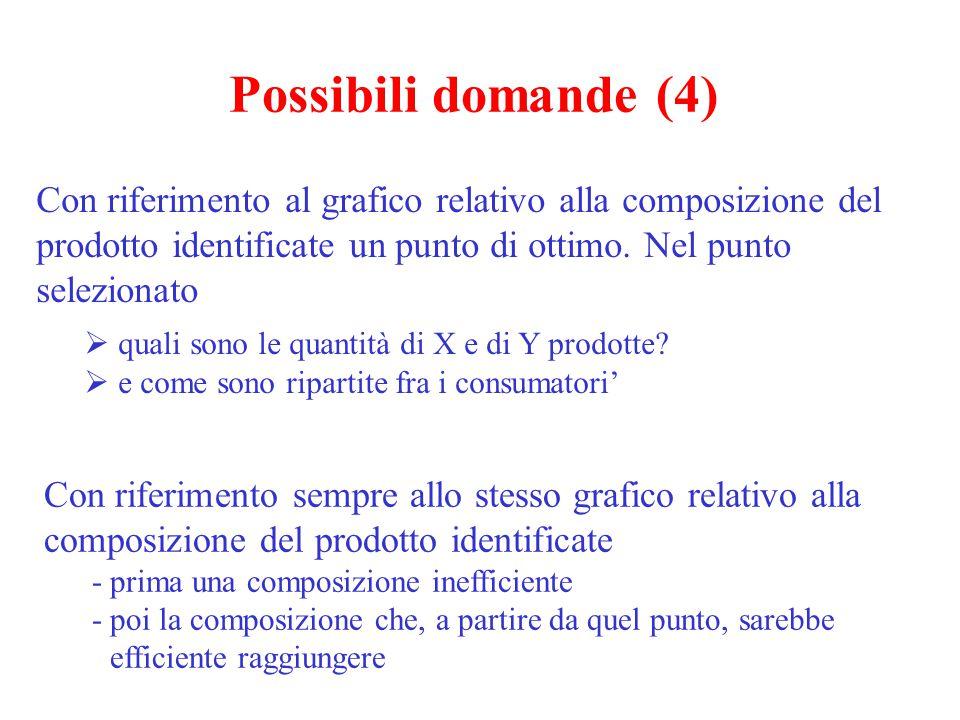 Possibili domande (4) Con riferimento al grafico relativo alla composizione del prodotto identificate un punto di ottimo. Nel punto selezionato  qual
