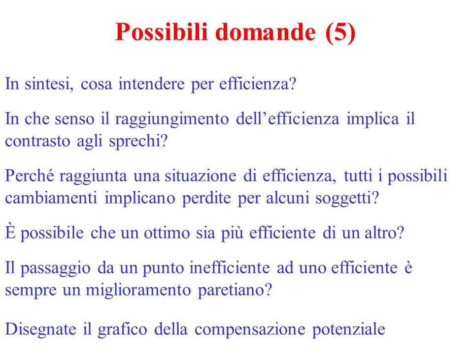 Possibili domande (5) In sintesi, cosa intendere per efficienza? In che senso il raggiungimento dell'efficienza implica il contrasto agli sprechi? Per
