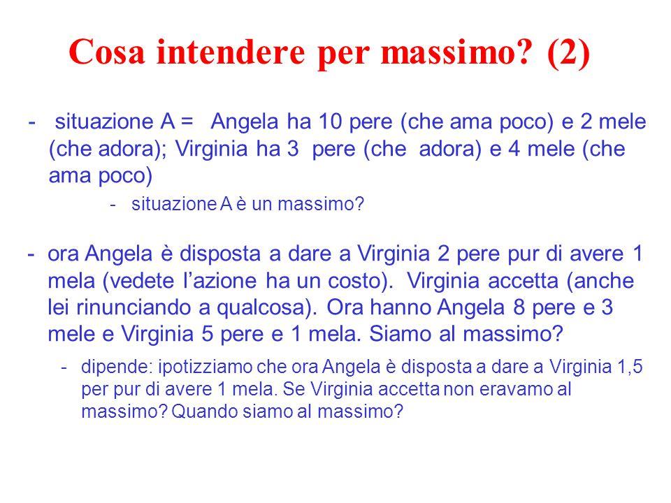 Cosa intendere per massimo? (2) - situazione A = Angela ha 10 pere (che ama poco) e 2 mele (che adora); Virginia ha 3 pere (che adora) e 4 mele (che a