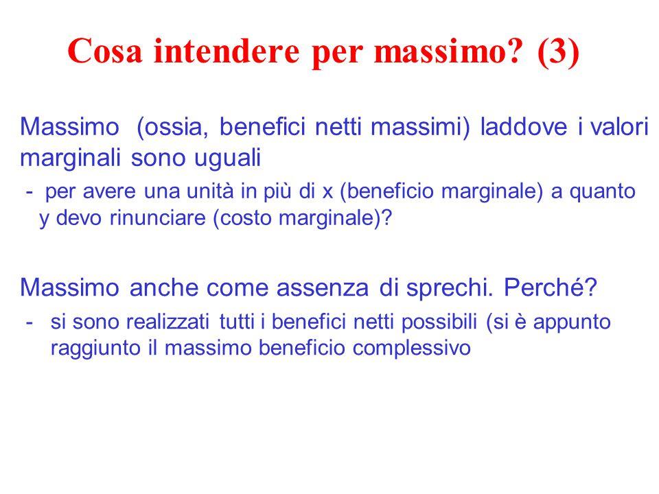Cosa intendere per massimo? (3) Massimo (ossia, benefici netti massimi) laddove i valori marginali sono uguali - per avere una unità in più di x (bene