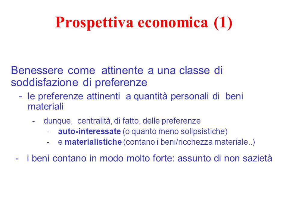 Prospettiva economica (1) Benessere come attinente a una classe di soddisfazione di preferenze -le preferenze attinenti a quantità personali di beni m