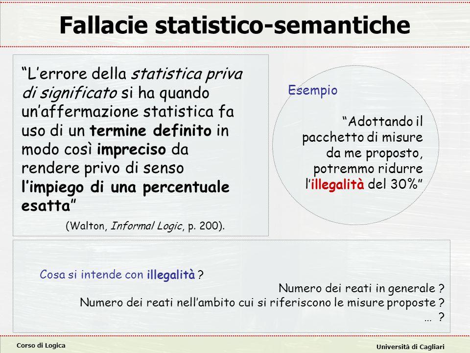 """Corso di Logica Università di Cagliari Fallacie statistico-semantiche """"L'errore della statistica priva di significato si ha quando un'affermazione sta"""