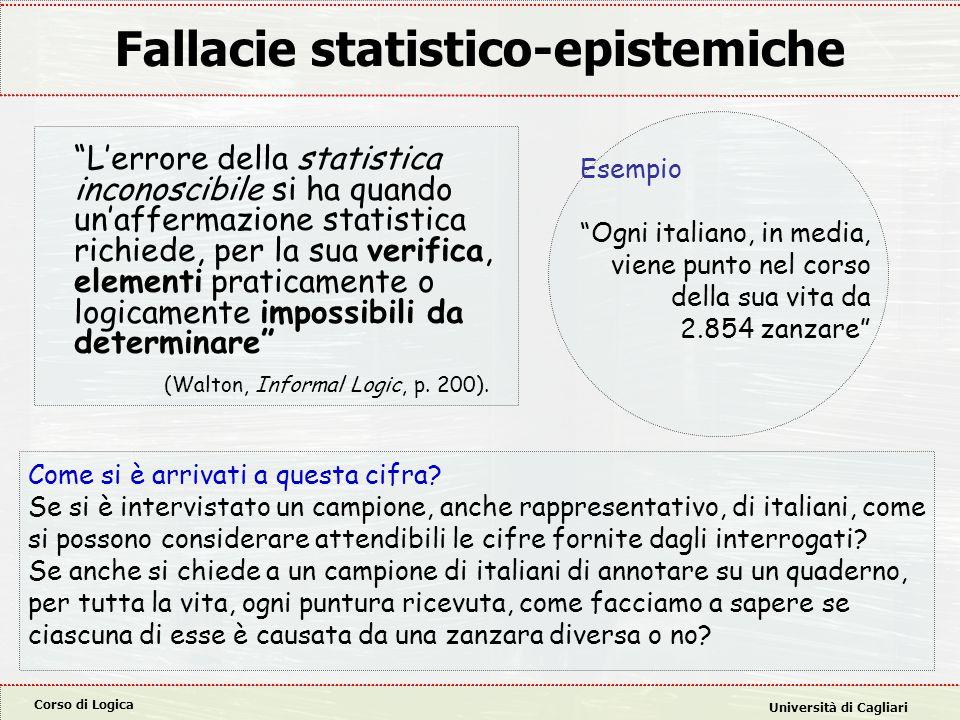 """Corso di Logica Università di Cagliari Fallacie statistico-epistemiche """"L'errore della statistica inconoscibile si ha quando un'affermazione statistic"""