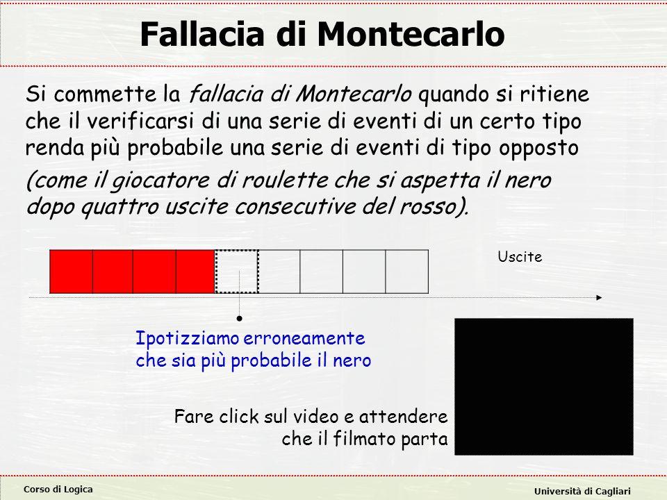 Corso di Logica Università di Cagliari Fallacia di Montecarlo Si commette la fallacia di Montecarlo quando si ritiene che il verificarsi di una serie