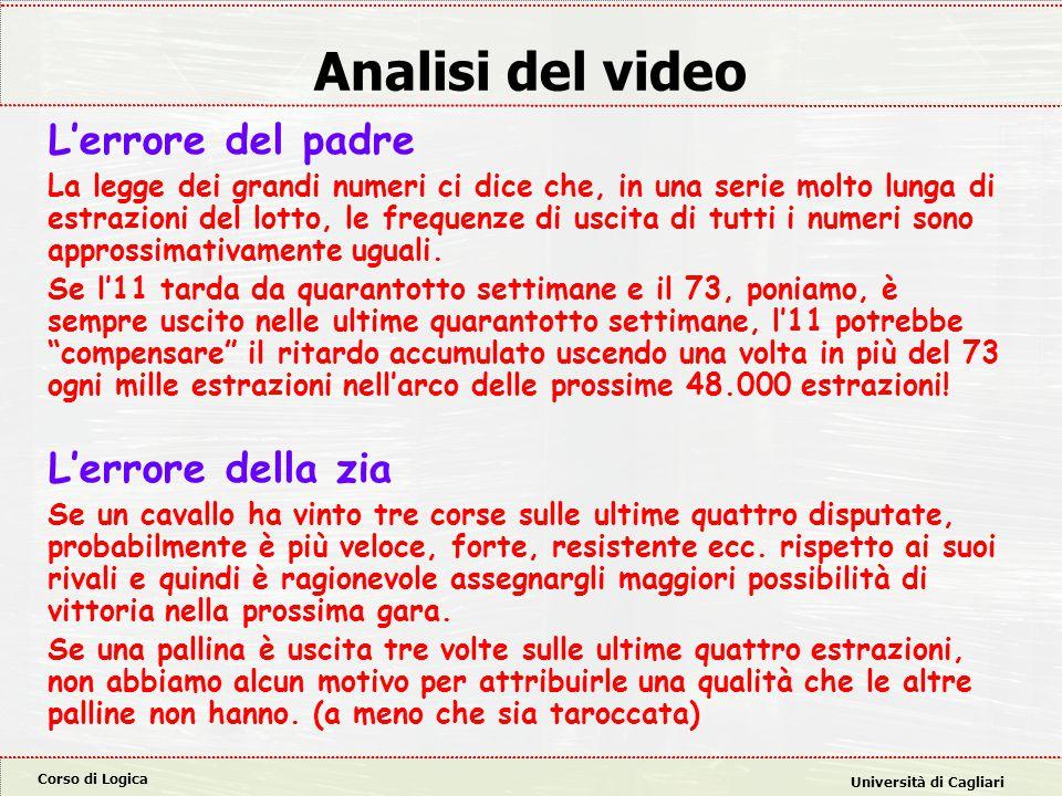 Corso di Logica Università di Cagliari Analisi del video L'errore del padre La legge dei grandi numeri ci dice che, in una serie molto lunga di estraz
