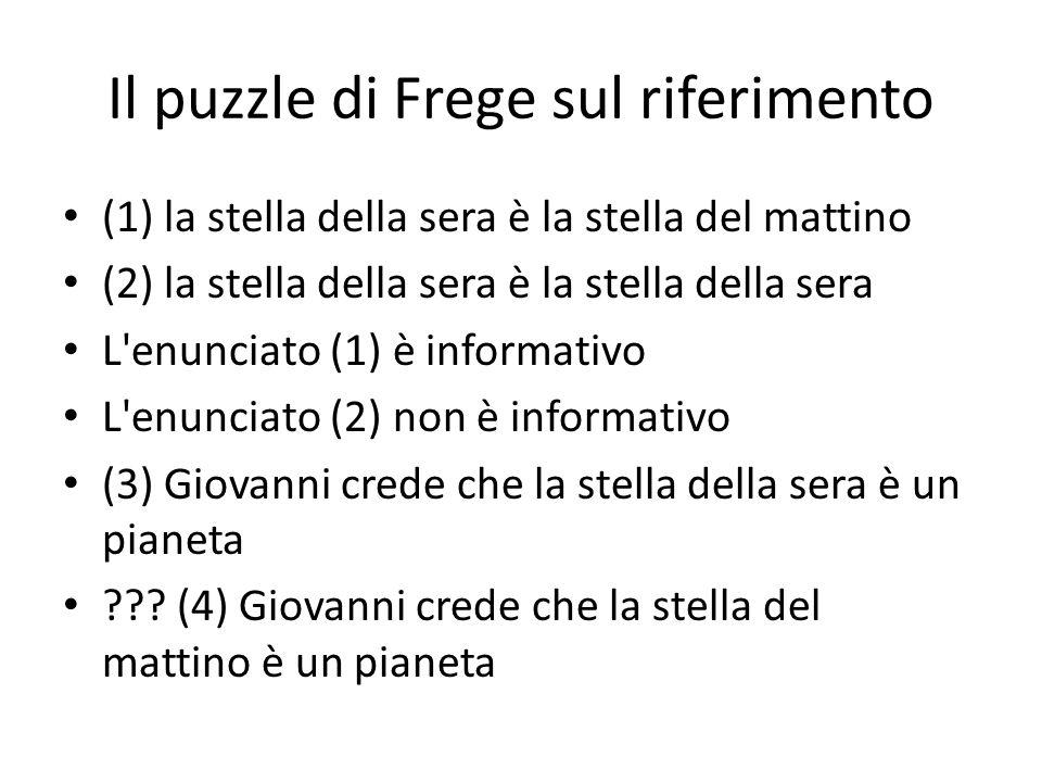 Il puzzle di Frege sul riferimento (1) la stella della sera è la stella del mattino (2) la stella della sera è la stella della sera L enunciato (1) è informativo L enunciato (2) non è informativo (3) Giovanni crede che la stella della sera è un pianeta .