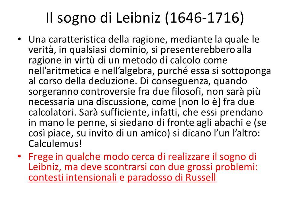 Il sogno di Leibniz (1646-1716) Una caratteristica della ragione, mediante la quale le verità, in qualsiasi dominio, si presenterebbero alla ragione in virtù di un metodo di calcolo come nell'aritmetica e nell'algebra, purché essa si sottoponga al corso della deduzione.