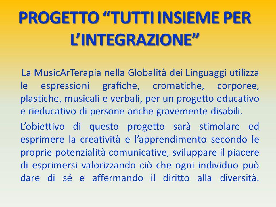 La MusicArTerapia nella Globalità dei Linguaggi utilizza le espressioni grafiche, cromatiche, corporee, plastiche, musicali e verbali, per un progetto