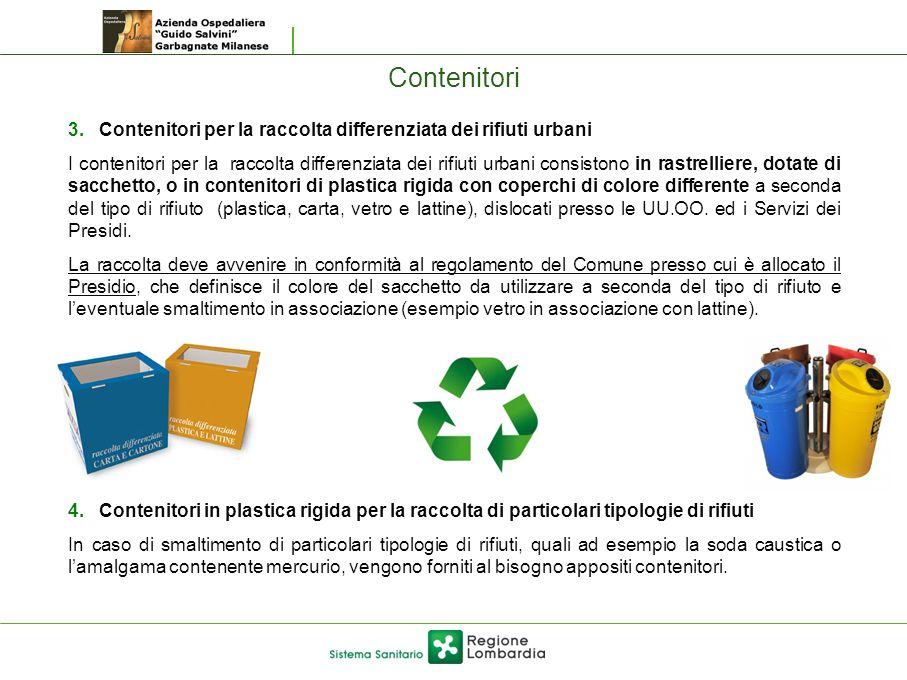 Contenitori 3. Contenitori per la raccolta differenziata dei rifiuti urbani I contenitori per la raccolta differenziata dei rifiuti urbani consistono