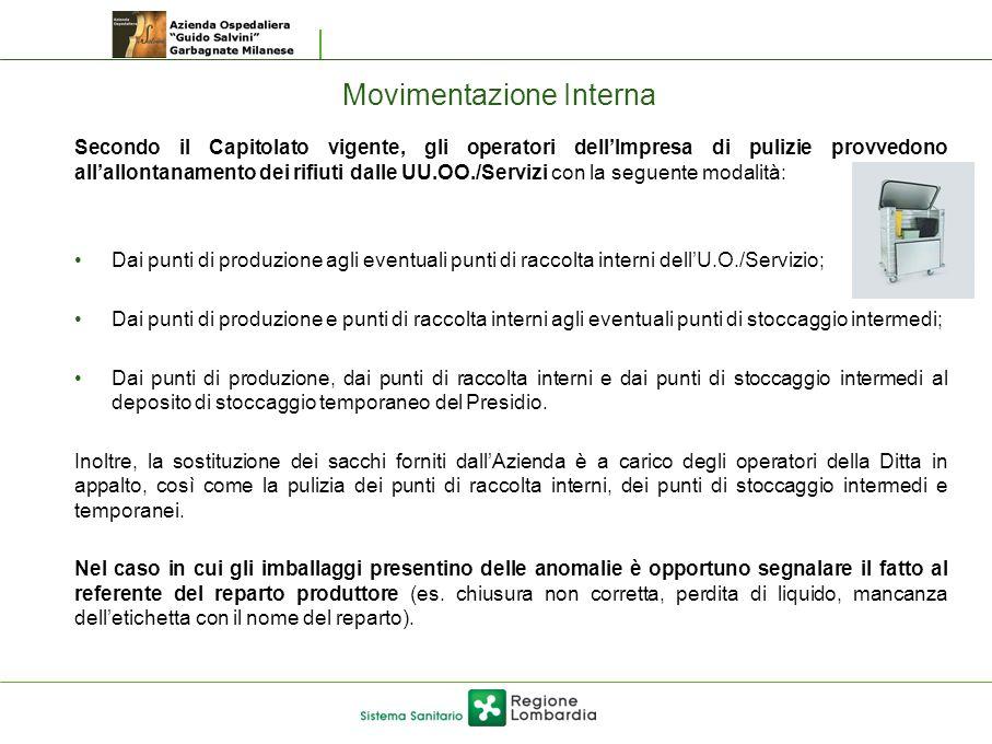 Movimentazione Interna Secondo il Capitolato vigente, gli operatori dell'Impresa di pulizie provvedono all'allontanamento dei rifiuti dalle UU.OO./Ser