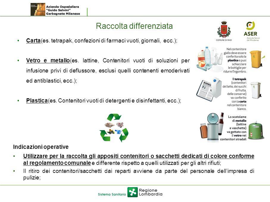 Raccolta differenziata Indicazioni operative Utilizzare per la raccolta gli appositi contenitori o sacchetti dedicati di colore conforme al regolament