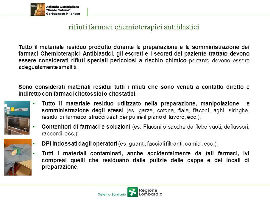 rifiuti farmaci chemioterapici antiblastici Tutto il materiale residuo prodotto durante la preparazione e la somministrazione dei farmaci Chemioterapi