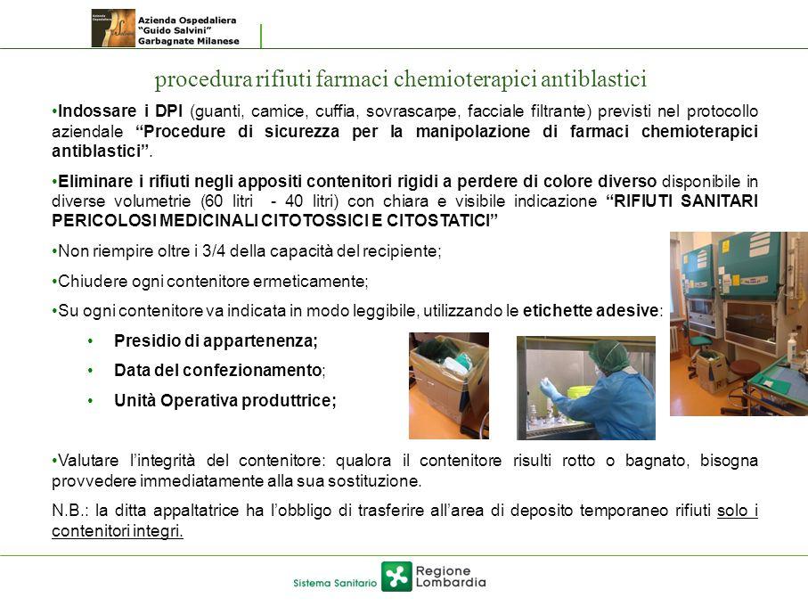 procedura rifiuti farmaci chemioterapici antiblastici Indossare i DPI (guanti, camice, cuffia, sovrascarpe, facciale filtrante) previsti nel protocoll