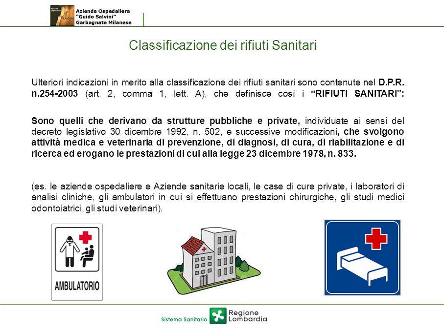 Classificazione dei rifiuti Sanitari Ulteriori indicazioni in merito alla classificazione dei rifiuti sanitari sono contenute nel D.P.R. n.254-2003 (a
