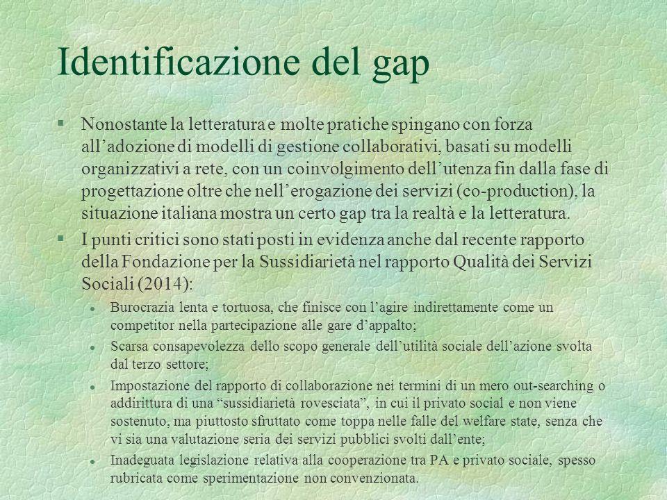 Identificazione del gap §Nonostante la letteratura e molte pratiche spingano con forza all'adozione di modelli di gestione collaborativi, basati su mo