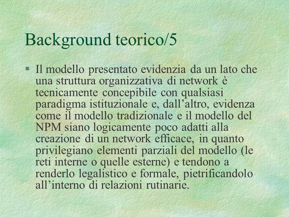 Background teorico/5 §Il modello presentato evidenzia da un lato che una struttura organizzativa di network è tecnicamente concepibile con qualsiasi p